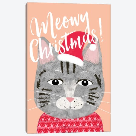 Xmas Cat Canvas Print #MIO59} by Mia Charro Canvas Wall Art