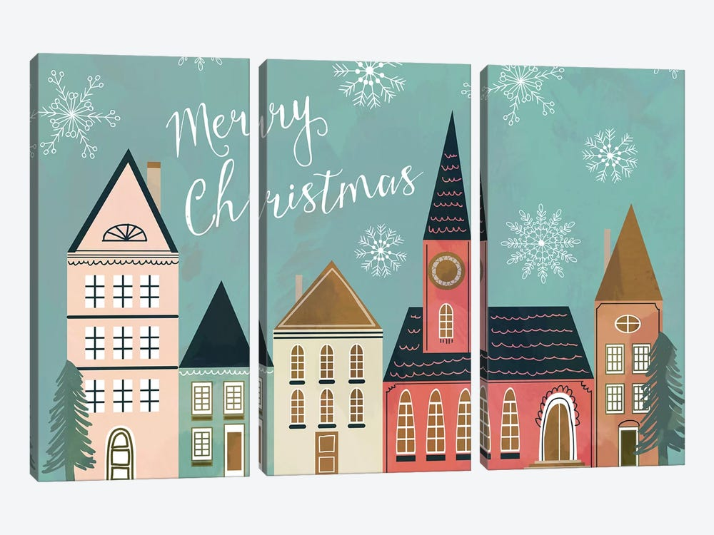 Xmas Village by Mia Charro 3-piece Canvas Print