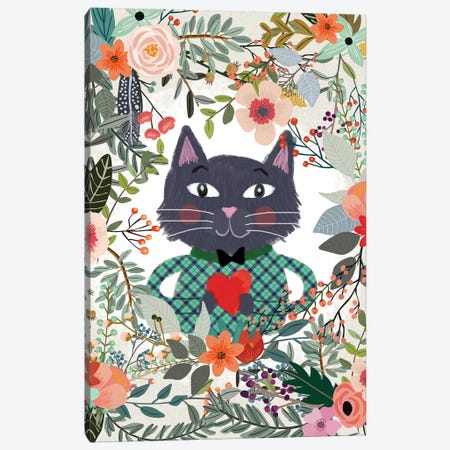 Cat And Heart Canvas Print #MIO7} by Mia Charro Art Print
