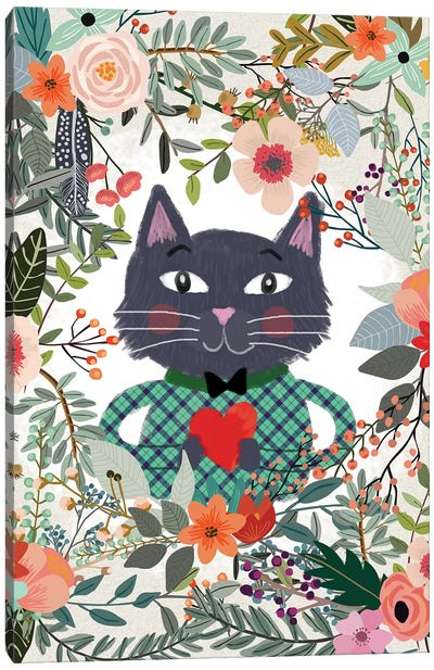 Cat And Heart Canvas Art Print