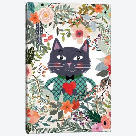 Cat And Heart Canvas Print #MIO7} by Mia Charro Art Print