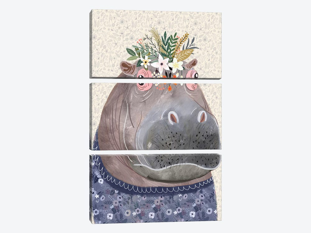 Hippo by Mia Charro 3-piece Canvas Art Print