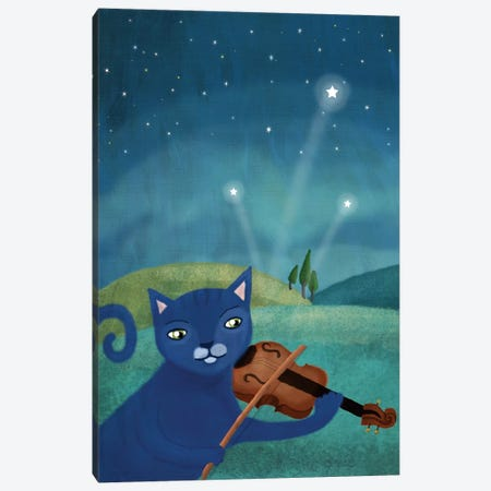 Cat And Violin Canvas Print #MIO8} by Mia Charro Canvas Wall Art
