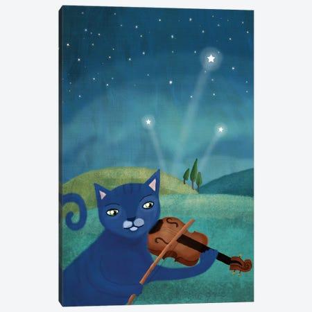 Cat And Violin Canvas Print #MIO8} by Mia Charro Canvas Wall Art
