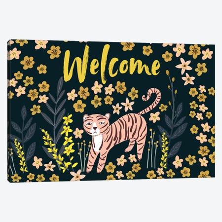 Tiger Welcome Canvas Print #MIO94} by Mia Charro Canvas Print
