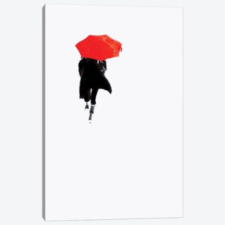 Red Umbrella Canvas Print #MIZ207} by Magda Izzard Canvas Wall Art