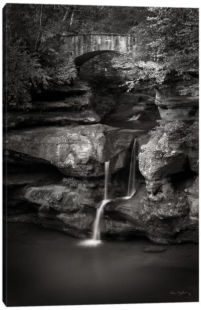 Upper Falls Old Mans Cave BW Canvas Art Print