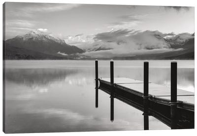 Lake McDonald Dock In Black & White Canvas Art Print