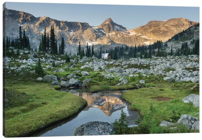 Mountains Reflected In Creek, Subalpine Meadows Of Marriott Basin, Coast Mountains, British Columbia Canvas Art Print