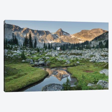 Mountains Reflected In Creek, Subalpine Meadows Of Marriott Basin, Coast Mountains, British Columbia Canvas Print #MJC67} by Alan Majchrowicz Canvas Art