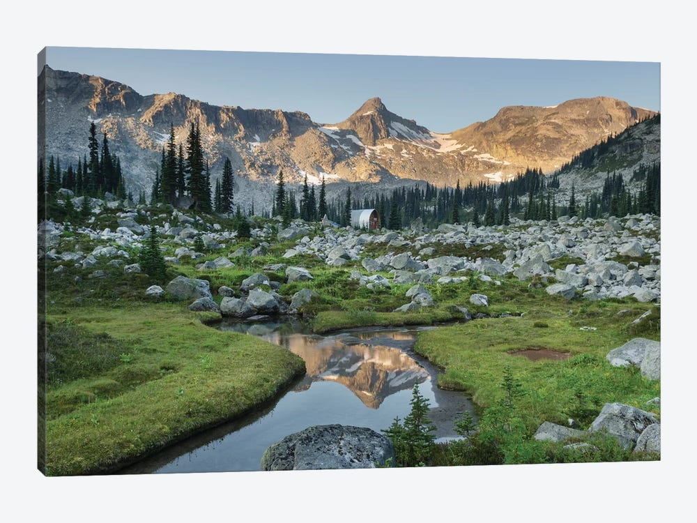Mountains Reflected In Creek, Subalpine Meadows Of Marriott Basin, Coast Mountains, British Columbia by Alan Majchrowicz 1-piece Art Print