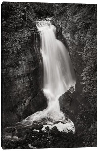 Miners Falls Michigan in Black & White  Canvas Art Print