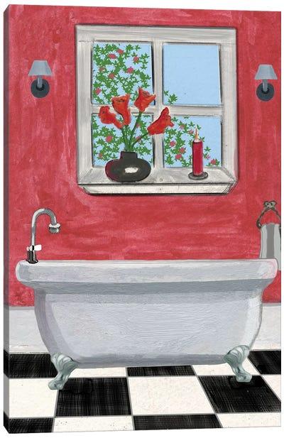 Red Bathroom I` Canvas Art Print