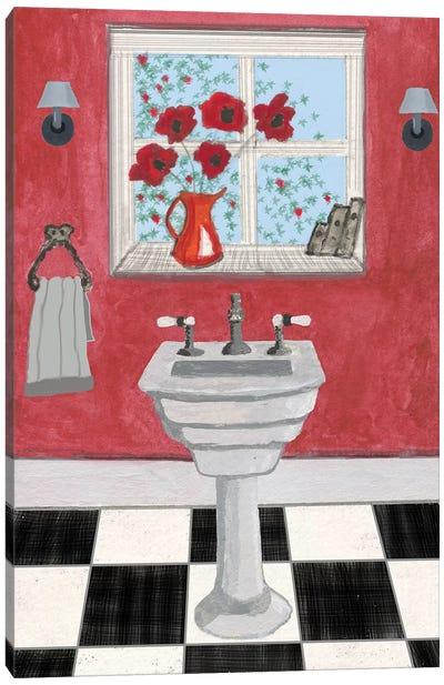 Red Bathroom II Canvas Art Print