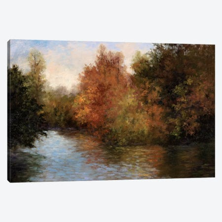 A Light On The Lake Canvas Print #MJW3} by Mary Jean Weber Canvas Artwork