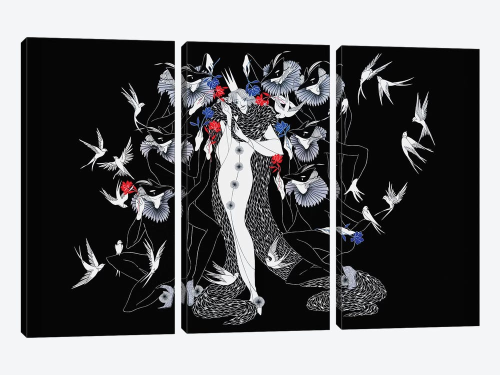 Peacouquette by Marina Mika 3-piece Canvas Print