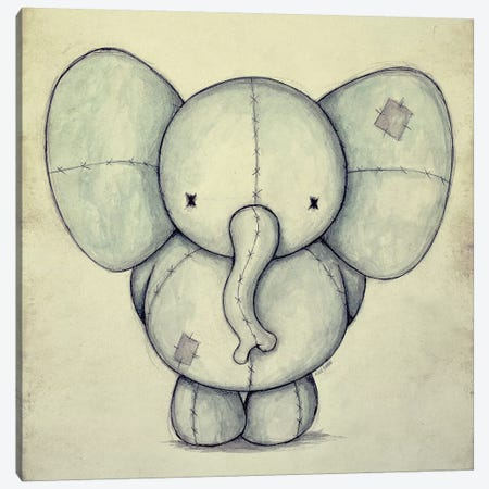Cute Elephant Canvas Print #MKB11} by Mike Koubou Canvas Art