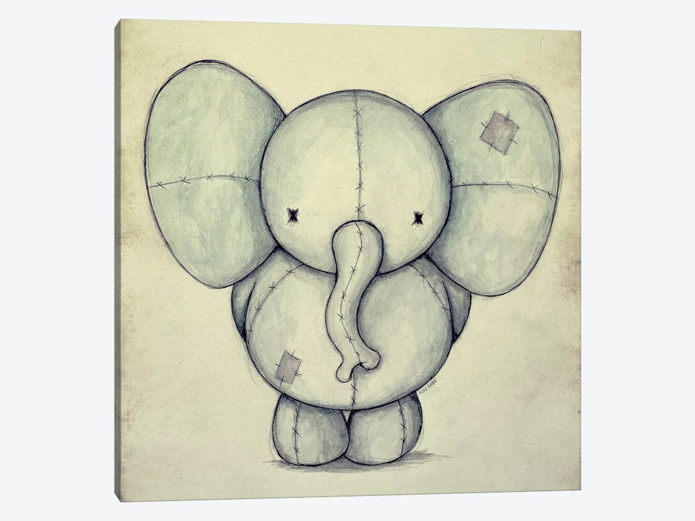 Cute Elephant by Mike Koubou 1-piece Canvas Art Print