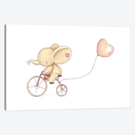 Cute Elephant Riding A Bike I Canvas Print #MKB12} by Mike Koubou Canvas Artwork