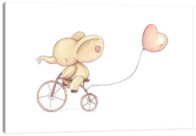 Cute Elephant Riding A Bike I Canvas Art Print