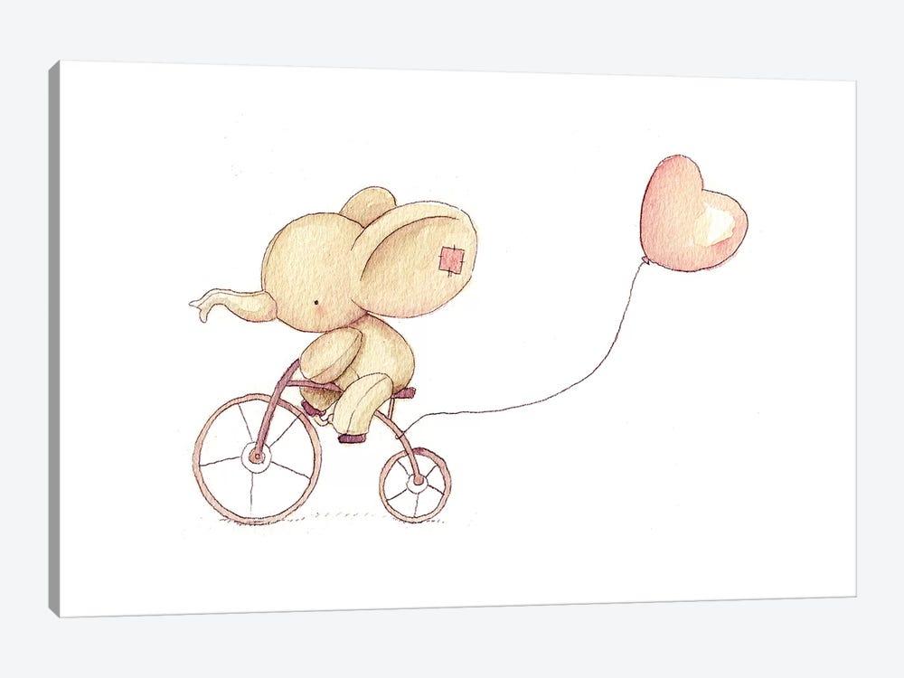 Cute Elephant Riding A Bike I by Mike Koubou 1-piece Canvas Artwork