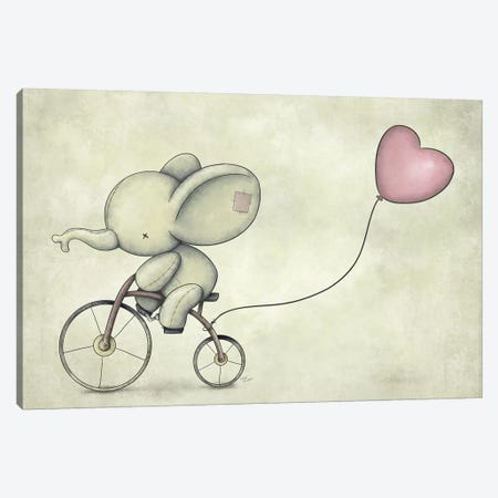 Cute Elephant Riding A Bike II Canvas Print #MKB13} by Mike Koubou Canvas Art