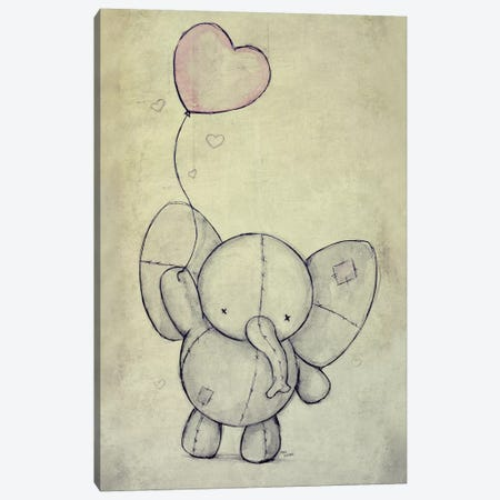 Cute Elephant With A Ballon Canvas Print #MKB14} by Mike Koubou Canvas Print