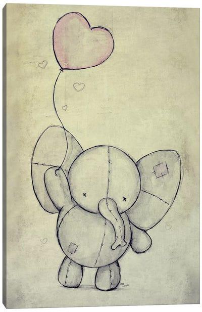 Cute Elephant With A Ballon Canvas Art Print