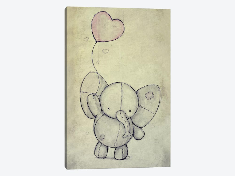 Cute Elephant With A Ballon by Mike Koubou 1-piece Canvas Art
