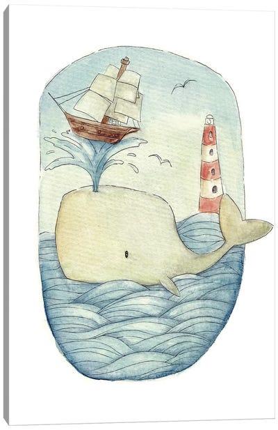 Cute Whale In The Sea Canvas Art Print