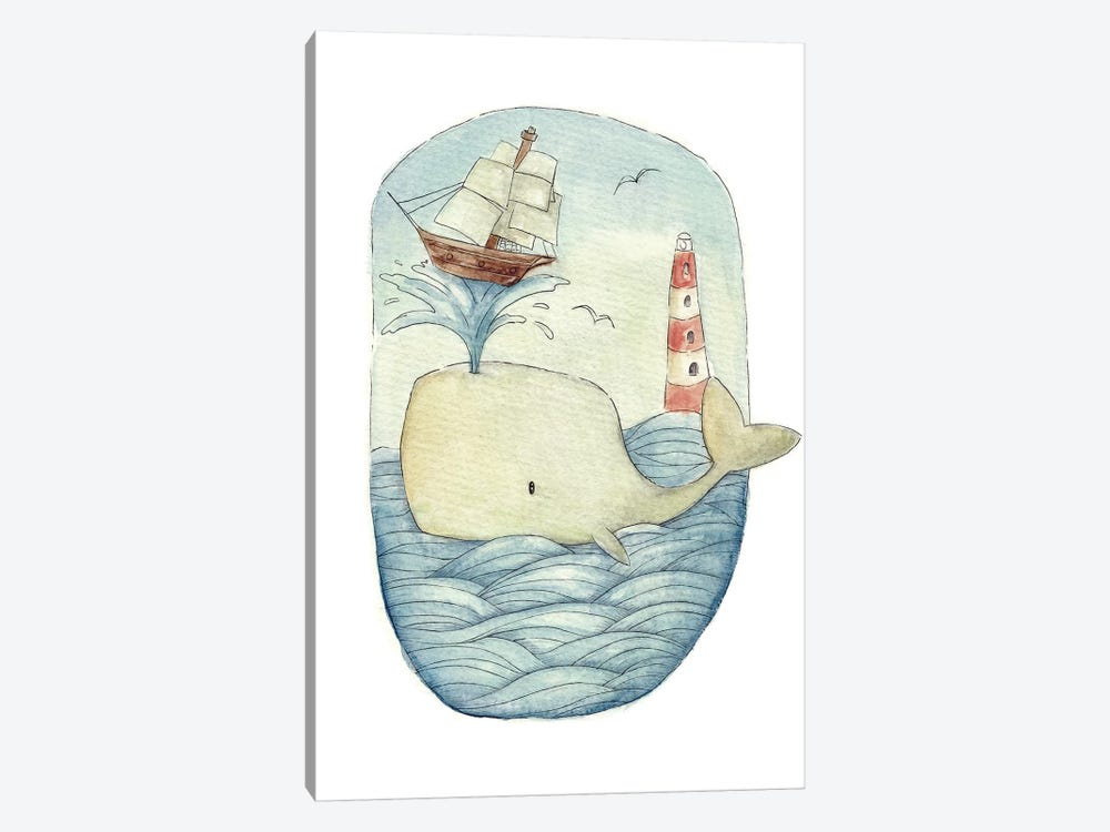 Cute Whale In The Sea by Mike Koubou 1-piece Art Print