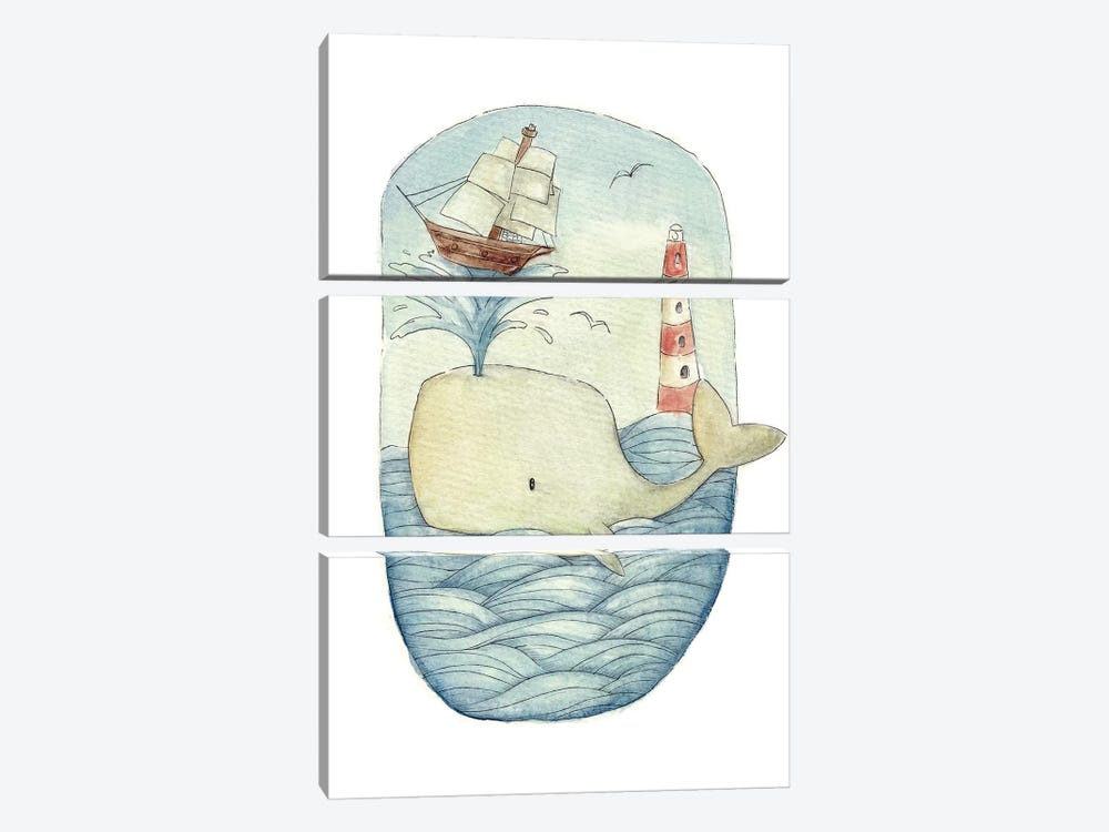 Cute Whale In The Sea by Mike Koubou 3-piece Canvas Print