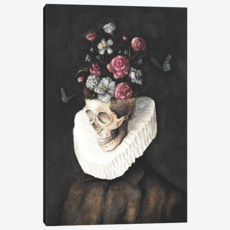 Flowers Skull Canvas Print #MKB174} by Mike Koubou Canvas Art