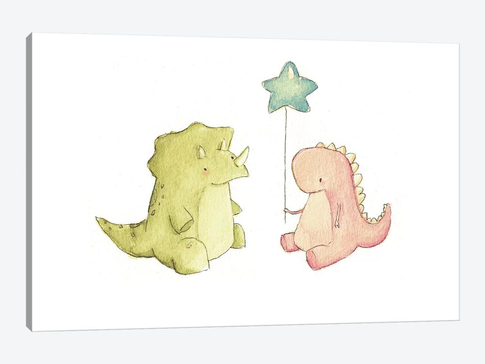 Dino Friends by Mike Koubou 1-piece Canvas Art Print