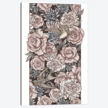 Flowers & Swallows Canvas Print #MKB23} by Mike Koubou Canvas Print