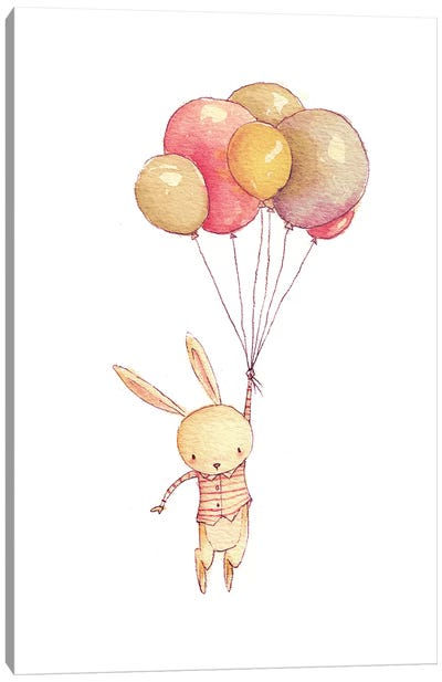 Flying Bunny Canvas Art Print