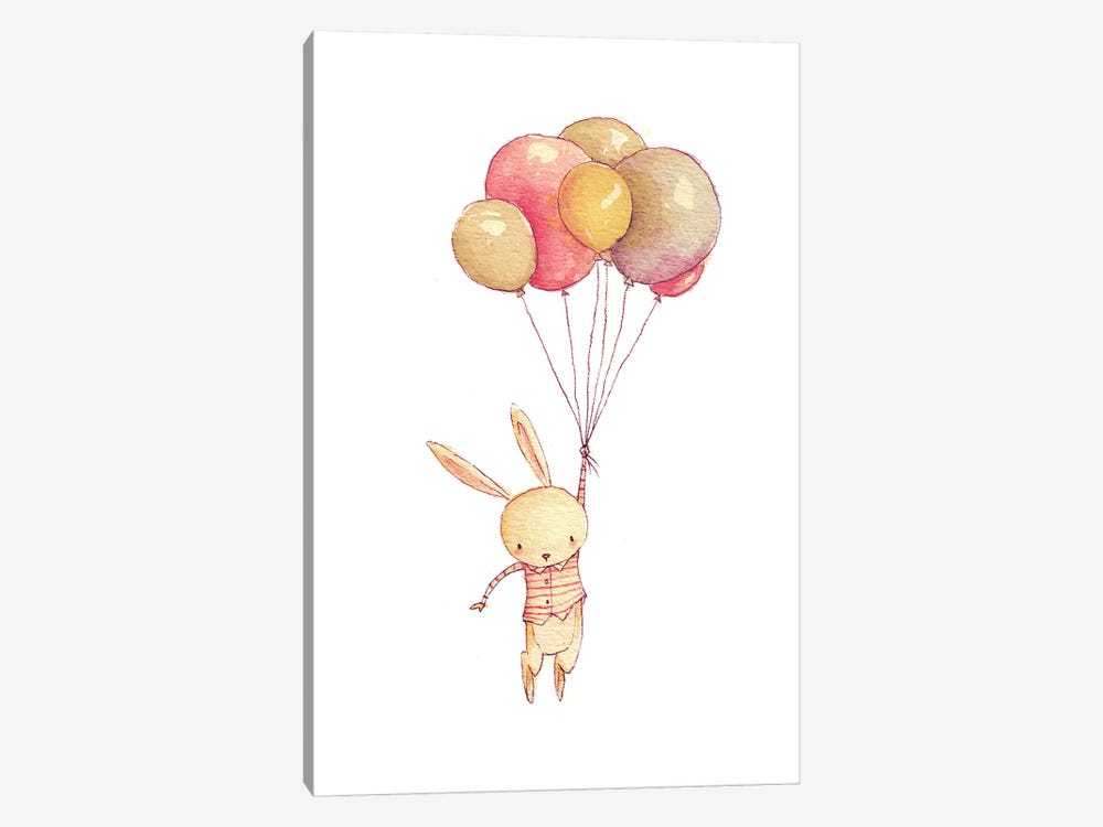 Flying Bunny by Mike Koubou 1-piece Art Print
