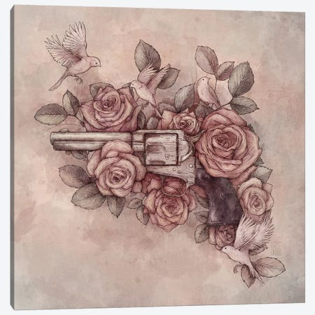 Guns & Flowers Canvas Print #MKB27} by Mike Koubou Canvas Artwork