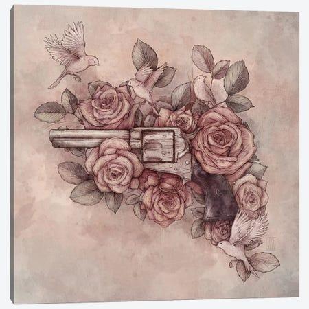 Guns & Flowers Canvas Print #MKB27} by Mike Koubou Canvas Artwork