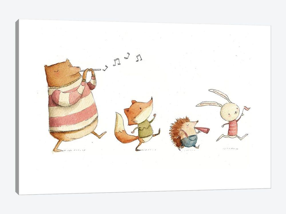 Happy Friends by Mike Koubou 1-piece Canvas Print