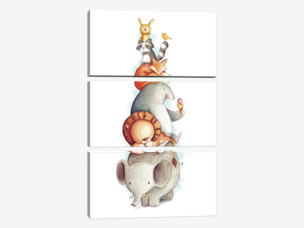 Party Animals by Mike Koubou 3-piece Canvas Wall Art