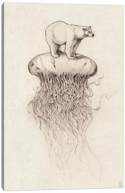 Polar Bear And Jellyfish I Canvas Art Print