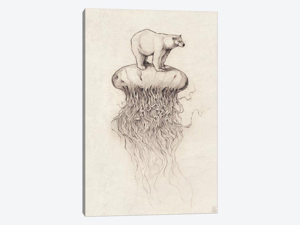 Polar Bear And Jellyfish I by Mike Koubou 1-piece Canvas Print