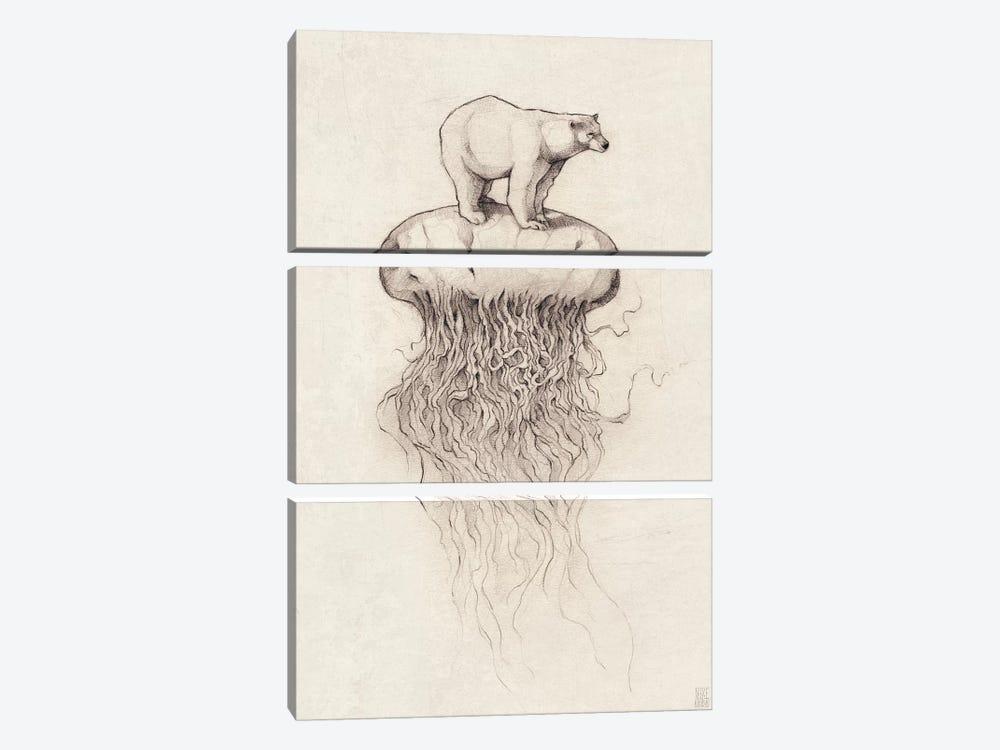 Polar Bear And Jellyfish I by Mike Koubou 3-piece Canvas Print