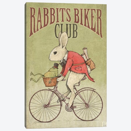 Rabbits Biker Club Canvas Print #MKB53} by Mike Koubou Canvas Artwork