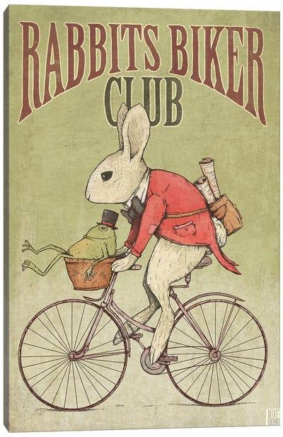 Rabbits Biker Club Canvas Art Print
