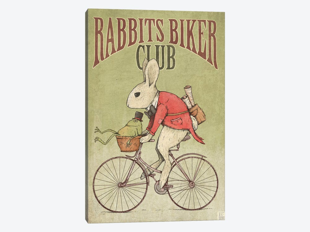 Rabbits Biker Club by Mike Koubou 1-piece Canvas Art Print