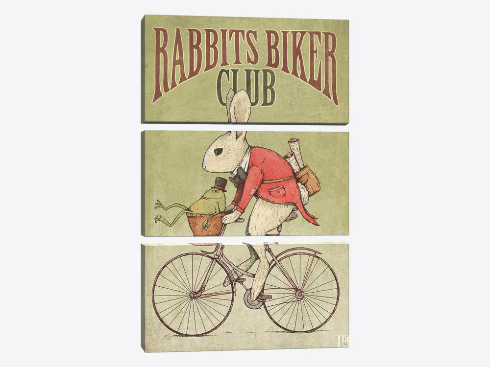 Rabbits Biker Club by Mike Koubou 3-piece Canvas Art Print