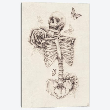 Skeleton And Roses I Canvas Print #MKB57} by Mike Koubou Canvas Print