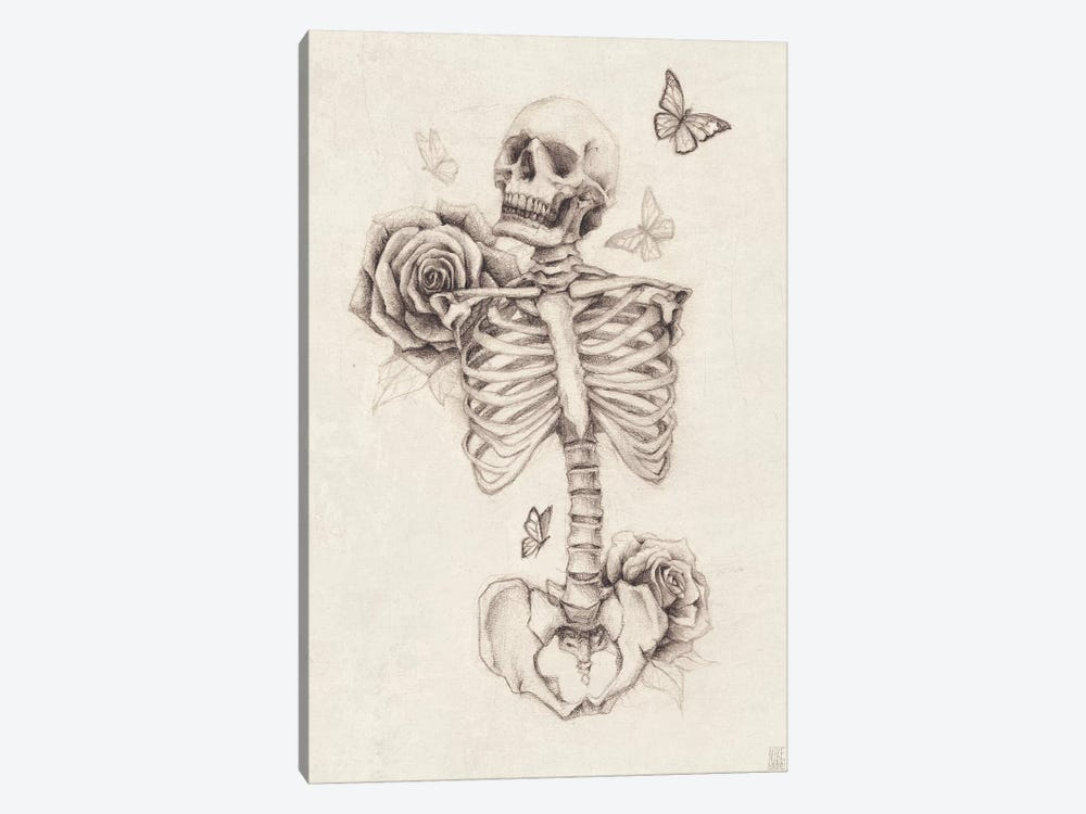 Skeleton And Roses I by Mike Koubou 1-piece Art Print